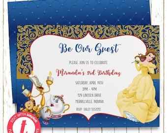 Beauty & the Beast Invitation | Kids Birthday | Printable Editable Digital PDF File | Instant Download | Templett | KBI162DIY