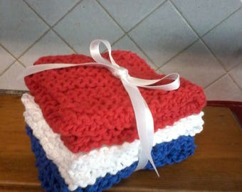 """Knitted wash cloths made with 100% cotton. 9"""" x 9"""".  Set of 3"""