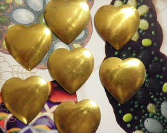 7 Vintage brass 21mm Puffy Heart Stampings