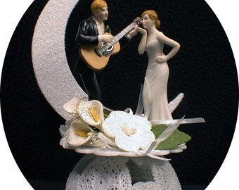 Romantic Moonlight Serenade Guitar Wedding Cake Topper bride groom top Music ornament Rock-n-roll