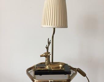 Art Deco 50s lamp with a brass deer