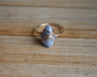 size 6.5 soothing blue quartz & 14k gold fill