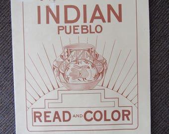 Vintage American Indian Pueblo Coloring Book Eukabi 1952 Free Shipping