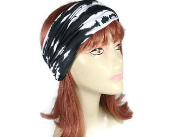 Black and White Tie-Dye Headband Unisex Tie-Dye Headband Tie-Dye Headwrap Swim Headwrap Swim Headband Mens Headbands Tie Dye Lycra Turban