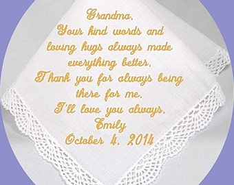 Grandmother of the  Bride or Groom Heirloom Embroidered, Keepsake  Personalized Hanky, Gift, Handkerchief