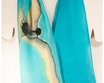"SALE. Silk scarf hand-painted. Arctic Tern scarf. 8""x52"" crepe silk. Painted silk scarves. Handpainted silk scarves. Hand painted Silk scarf"