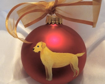 Labrador Retriever Yellow Lab Dog Hand Painted Christmas Ornament - Can Be Personalized with Name