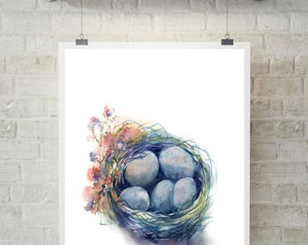 Nest Fine Art Print, nest with eggs watercolor print, watercolor painting print, Easter wall art print, blue and pink print