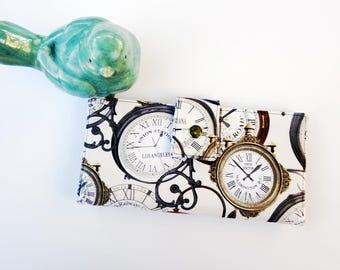 Vegan Wallet-Clocks Wallet-Women's Wallet-Clutch-Steampunk wallet-Women's wallet- steampunk art gift,-train station clocks