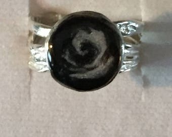 Solidified Ashes Ring - .925 Sterling Silver Pet Cremation Ash Jewelry Sterling Silver Textured band Ring~~COLOR WITH SWIRL