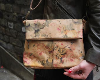 Mini Amelie Floral Leather Foldover Bag