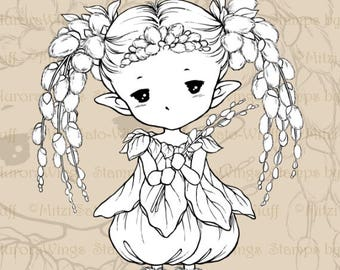 PNG Digital Stamp - Instant Download - Pussy Willow Sprite - Nature Fairy Line Art for Cards and Coloring by Mitzi Sato-Wiuff - AuroraWings