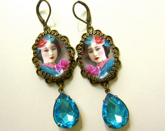 Geisha Earrings - Gypsy Jewelry - Aqua pink - boho earrings - Rhinestone Earrings - Art Jewelry - Vintage image - turquoise - gift for her