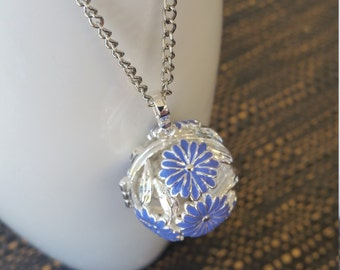 Blue Flower Essential Oil Pendant Necklace
