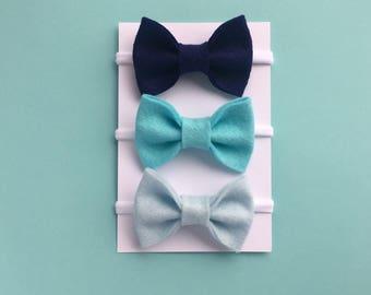 Blue Baby Headband Set, Baby Girl Headbands, Newborn Headband, Blue Bow Headbands, Nylon Headband, Hair Clips, Hair Bows, Blue Headband