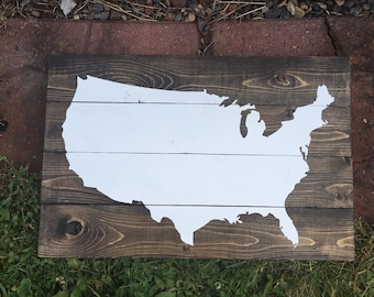 USA Map Wooden Pallet Sign - United States Map on Wood - Wooden Wall Art - Gallery Wall Decor - Pallet Art