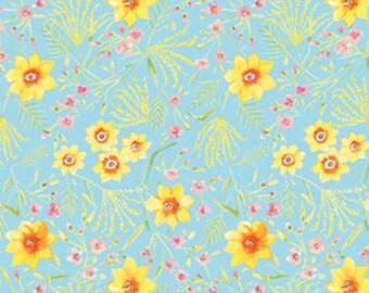 Dena Designs lidf003-aqua Sunshine Jasmine in Aqua - Linen Fabric