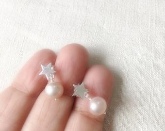 Freshwater Pearl Earrings - Star Stud Earrings, 925 Sterling Silver Freshwater Pearl Dangle Earrings, Gift for her, Pale Pink Pearl Earring