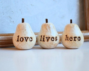 Gifts for her / white love lives here pears / gift for mom grandma neighbor friend sister / stocking stuffer ideas / love quotes