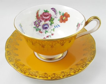 Royal Albert Yellow Tea Cup and Saucer with Flowers, Vintage Bone China