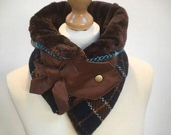 Faux fur cowl scarf, womens scarf, womens cowl, Infinity scarf, neck warmer, tartan scarf, faux fur snood, Amanda Sutherland