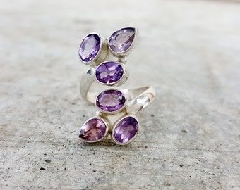 Amethyst Ring - February Birthstone Ring - Adjustable Wrap Ring - Sterling Silver Amethyst Jewelry - Statement Ring- Gemstone Ring