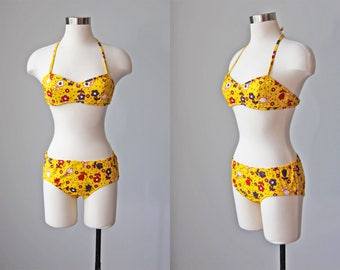 60s Bikini - Vintage 1960s Swimsuit - Deadstock Mod Flower Yellow Hip Hugger Cotton Swimsuit XS XXS - Daisy Chain Bikini