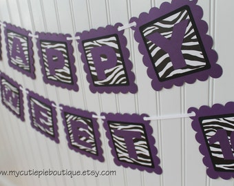 Purple Zebra Print Happy Sweet 16 Birthday Party Banner