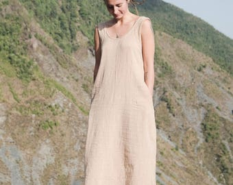 "khadi organic cotton woman long  boho dress ""softness"""