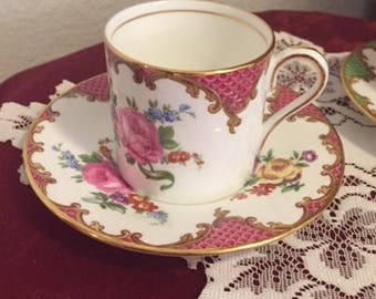 Ansley England Bone china Demitasse Tea Cup and Saucer Red Rose Pattern