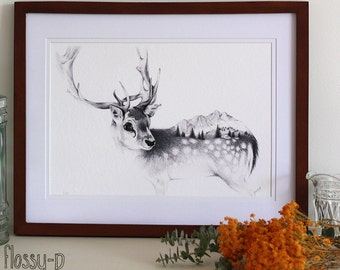 Reindeer Drawing, A4 Art Print, by flossy-p