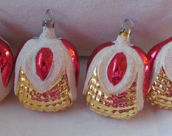 4 PCS. red gold mercury glass christmas ornaments figural bumpy  Czechoslovakia