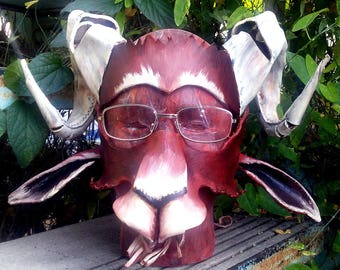 Eyeglass Compatible Leather goat Mask