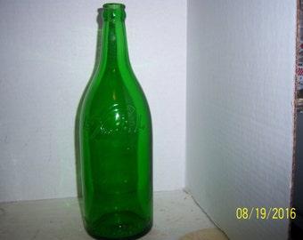 1950's  Excel Beverage Co Allston Boston Mass  11 1/4 Emerald Green Quart Soda Bottle