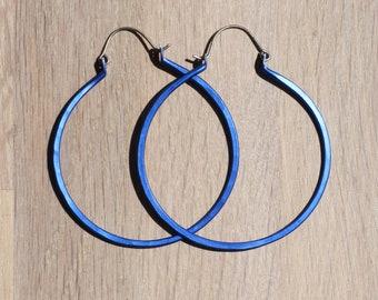 Large hoop earrings - Statement earrings - Titanium earrings - 0.8mm - Unique - Boho hoops - Blue - Big hoops - Summer hoops