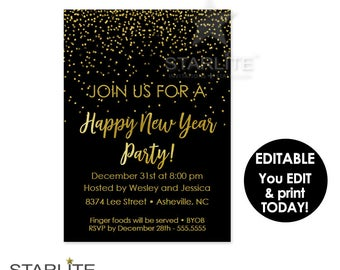 EDITABLE New Year's Eve Party Invitation, INSTANT DOWNLOAD, New Years Party Invitation Printable, New Year Party Invite, Black Gold Digital