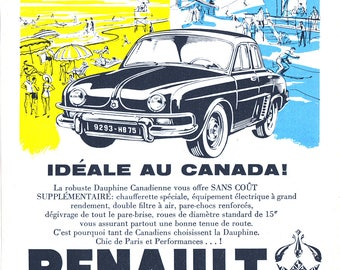 1958 Renault Dauphine Poster Size Ad