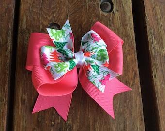 Christmas Bow, Pink Christmas Bow, Christmas Tree Bow