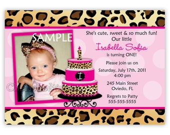 Brown Leopard With Pink Cake or Cupcake Birthday Invitation (You Print)
