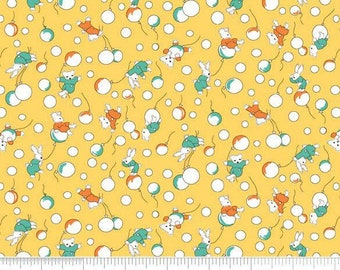 Yellow Baby Fabric, Penny Rose Toy Chest C4852 Bunnies, Bears, Balloons, 1930s Reproduction Feedsack Quilt Fabric, 100% Cotton