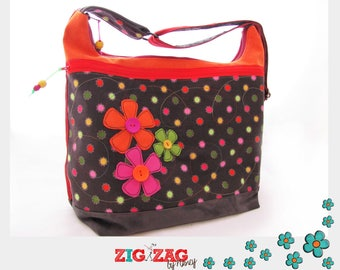 "Large handbag ""Big Trapèze"" flowers (Orange and charcoal) x H35 x L40 base: 15 x 30"