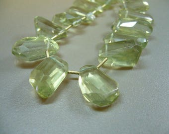 Green Amethyst Faceted Fancy Briolette Focal Beads Set of 3