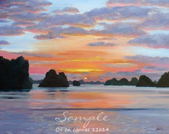 Large custom sunset canvas oil painting from photo, Nature commission, Original landscape or beach wall art by Janet Zeh