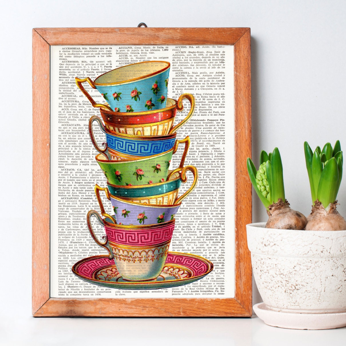 L mina de diccionario tazas apiladas tazas vintage lamina for Tazas de te estilo vintage