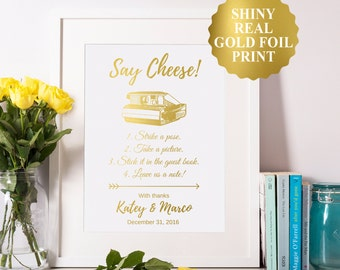 Photo Guest Book Sign, Gold Foil Custom Wedding Print, Photo Guest Book, Personalized Wedding Sign Quote 8x10 5x7 4x6