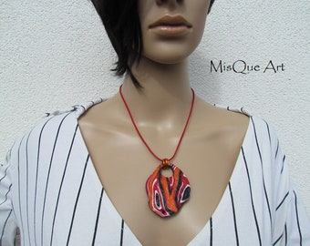 Necklace with pendant element fire & Earth