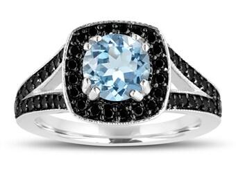 Aquamarine Engagement Ring 14K White Gold 1.46 Carat Halo Pave Handmade Certified