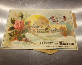 1 Vintage 1800's  Tradecard Compliments of Ramsey and Brother College Corner Ohio with Moon House Birds Rose
