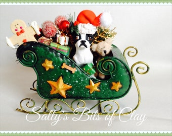 Boston Terrier Dog black & white Christmas figure in sleigh OOAK READY to SHIP! One of a Kind original sculpture by Sally's Bits of Clay