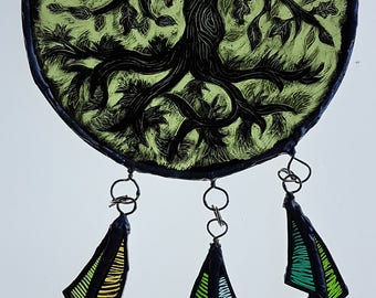 Tree of Life, dreamcatcher, stained glass, copper foiled glass, sun-catcher, art glass, solstice, glass feathers, window decoration, pagan